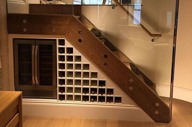 Wine rack built under stairs